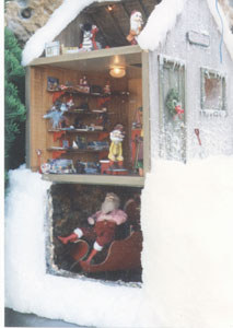 shows the elf in the attic and the rock walls in the basement a little